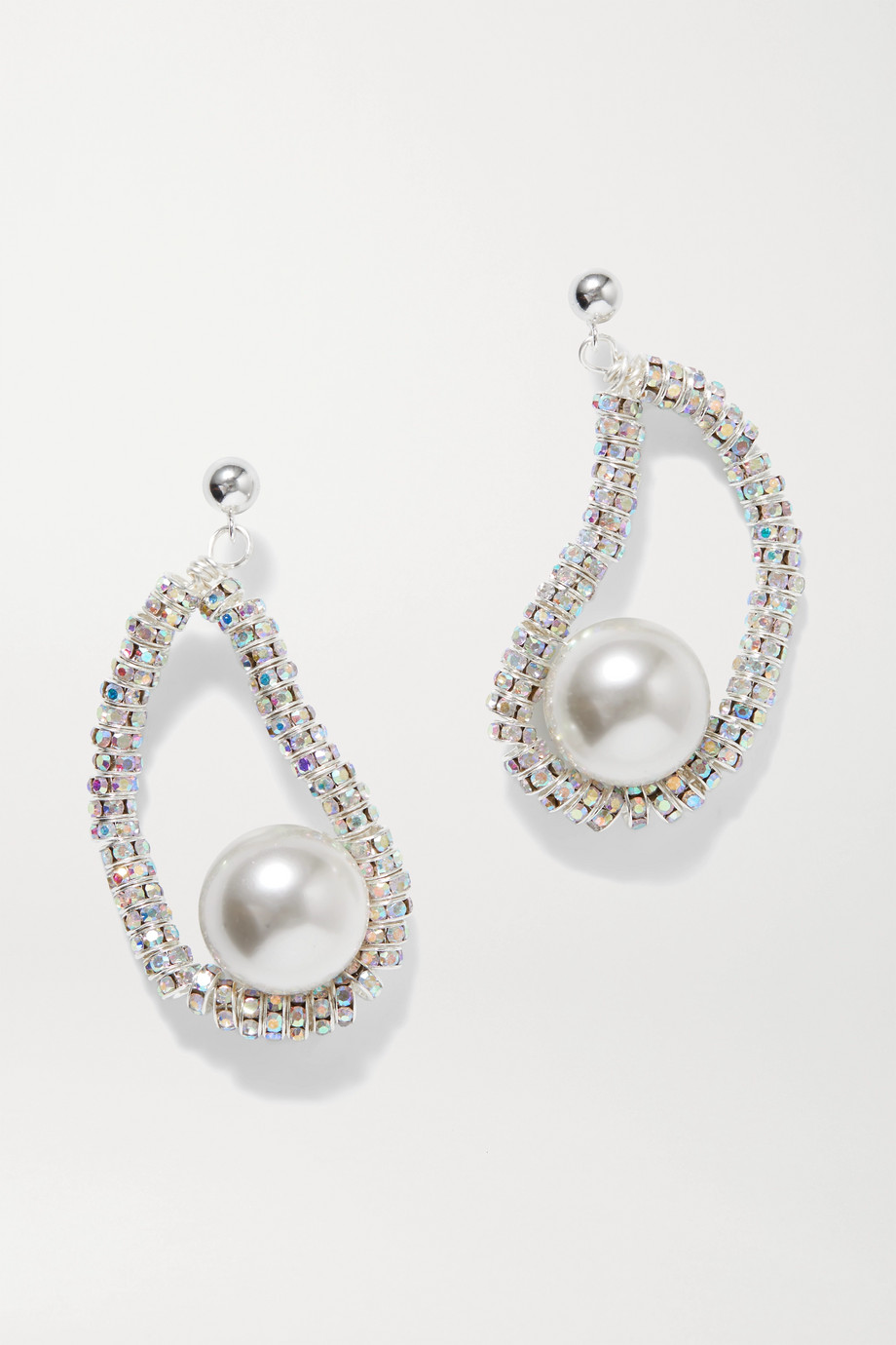 PEARL OCTOPUSS.Y Mini Oysters silver-plated, crystal and faux pearl earrings