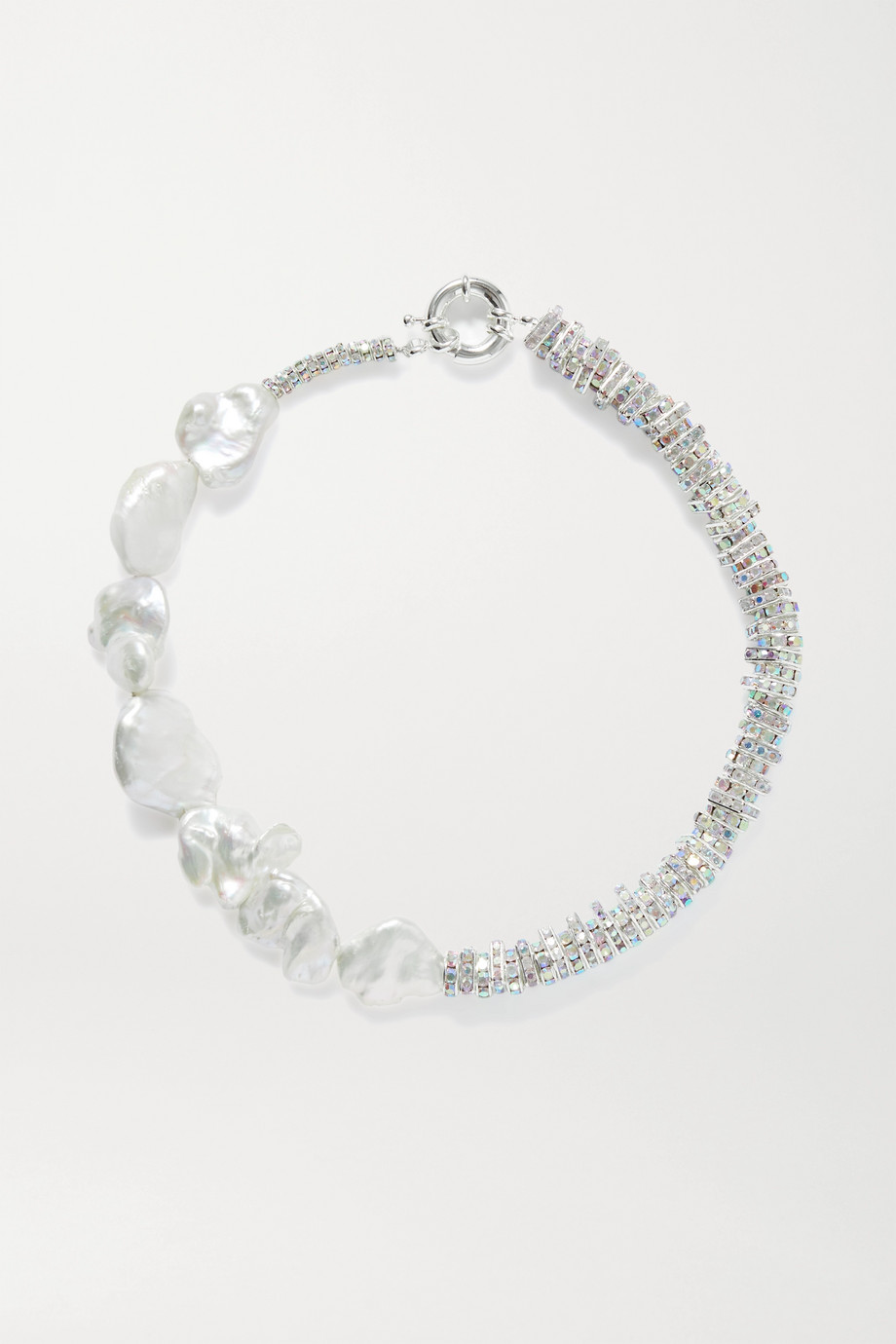 PEARL OCTOPUSS.Y Silver-plated, crystal and pearl necklace