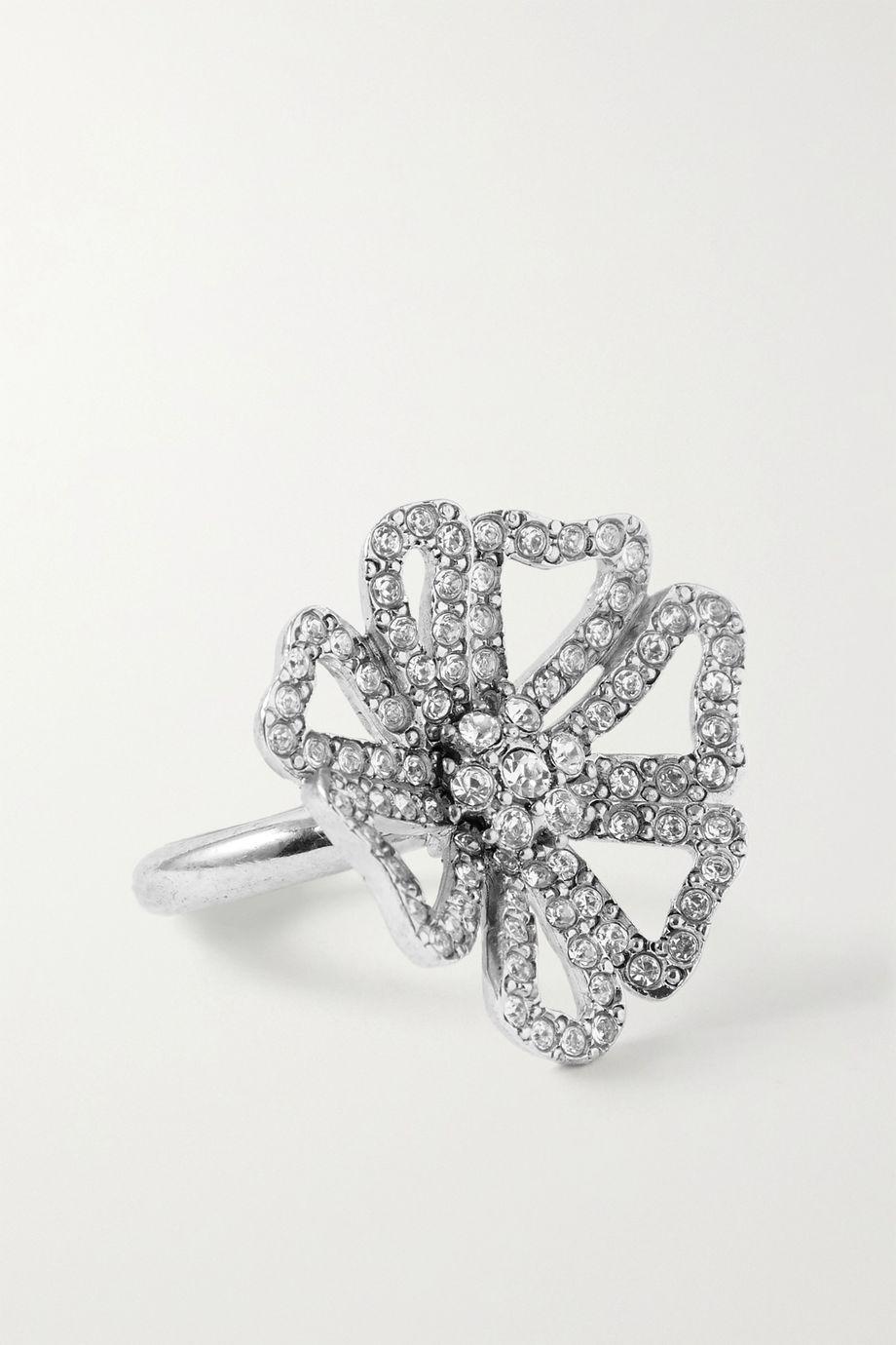 Oscar de la Renta 水晶银色戒指