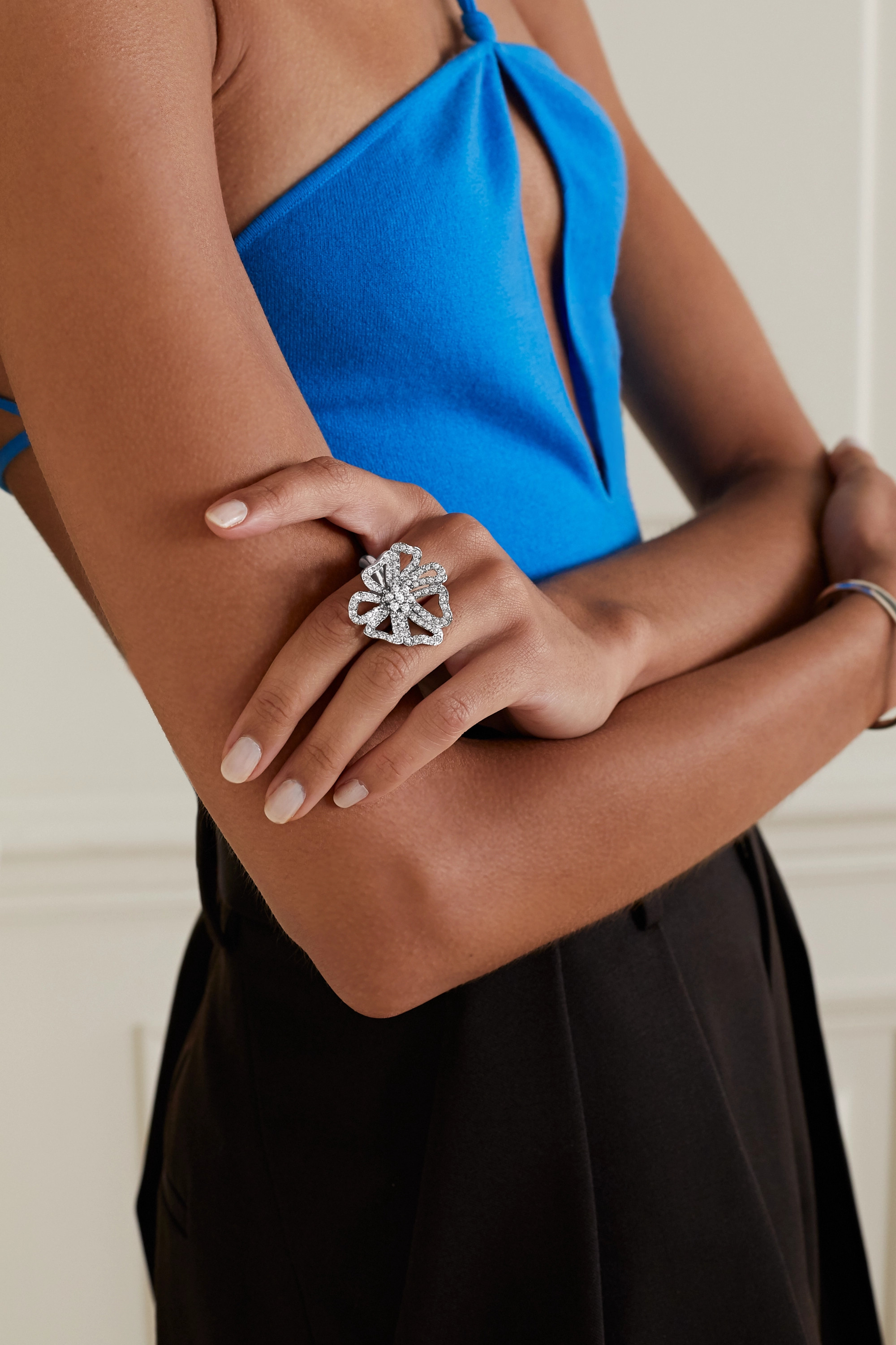 Oscar de la Renta Silberfarbener Ring mit Kristallen