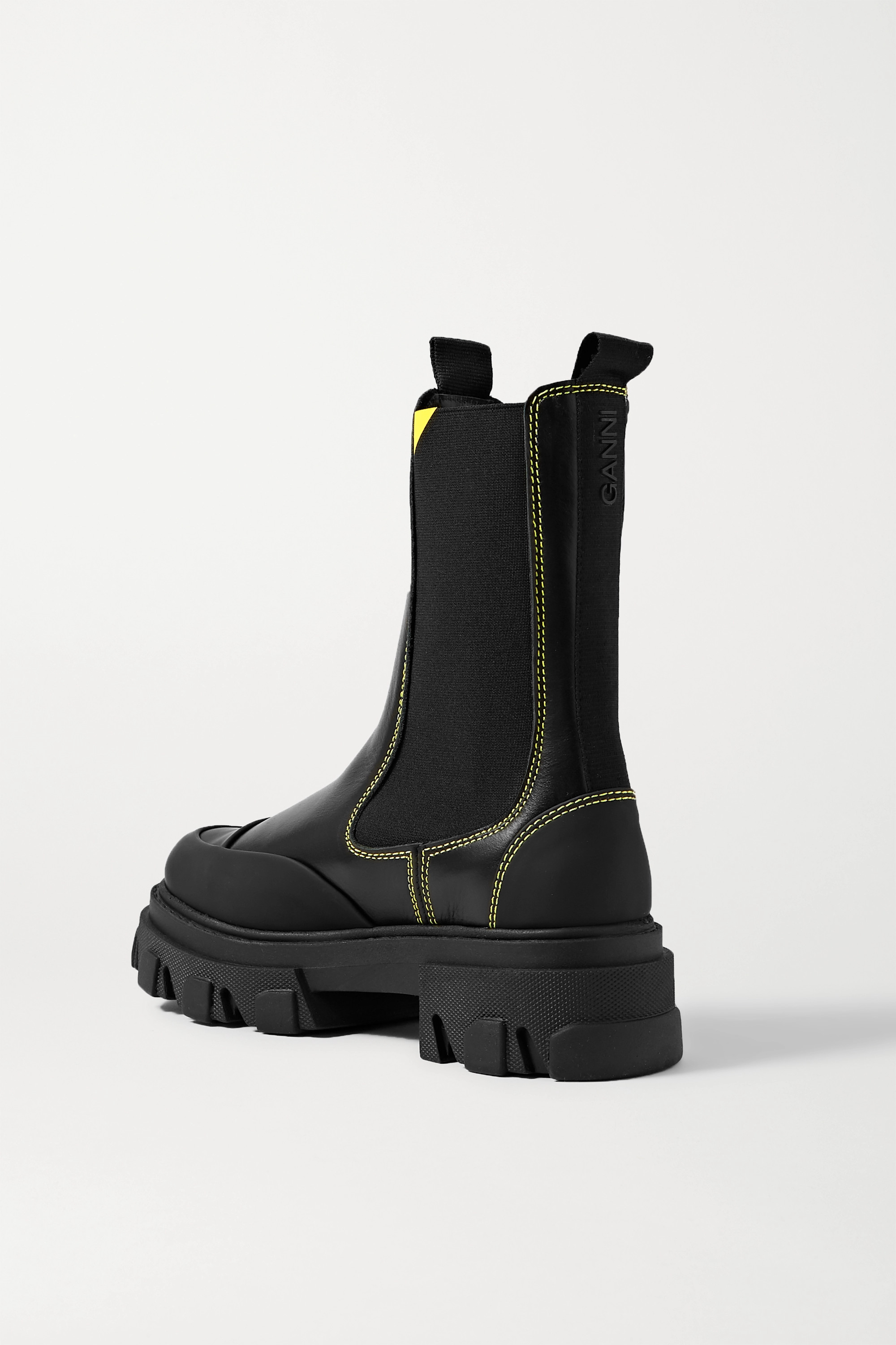 GANNI Rubber-trimmed leather Chelsea boots