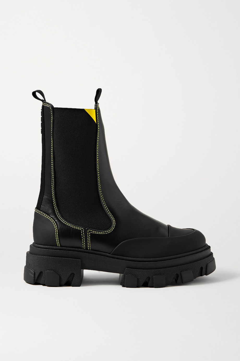 GANNI 橡胶边饰皮革切尔西靴