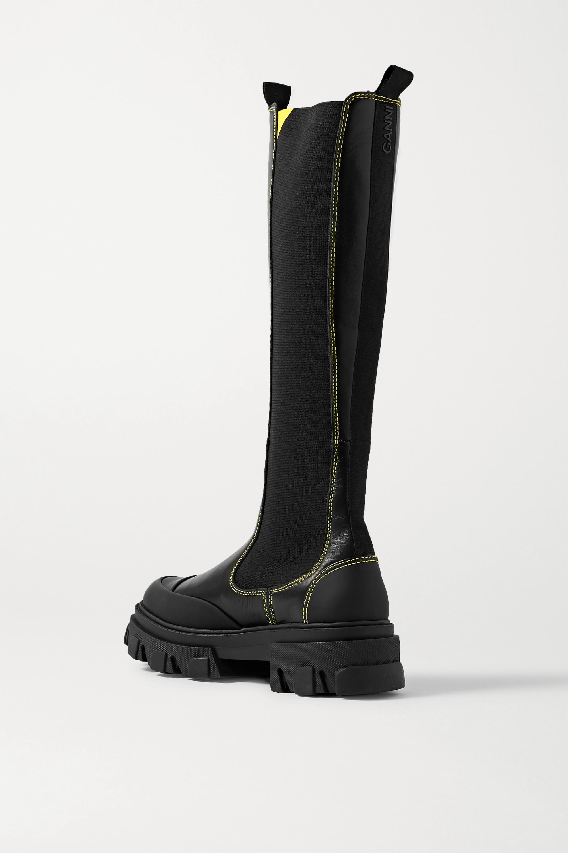 GANNI Kniehohe Chelsea Boots aus Leder mit Gummibesätzen