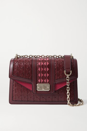 Serapian Diamante suede-trimmed woven leather shoulder bag
