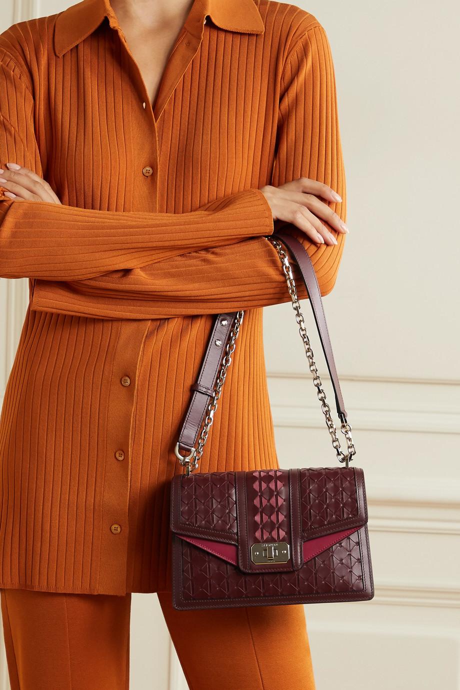Serapian Diamante suede-trimmed woven leather shoulder bag