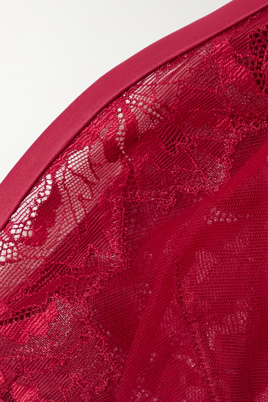 Calvin Klein Underwear Satin-trimmed tulle and lace underwired plunge bra