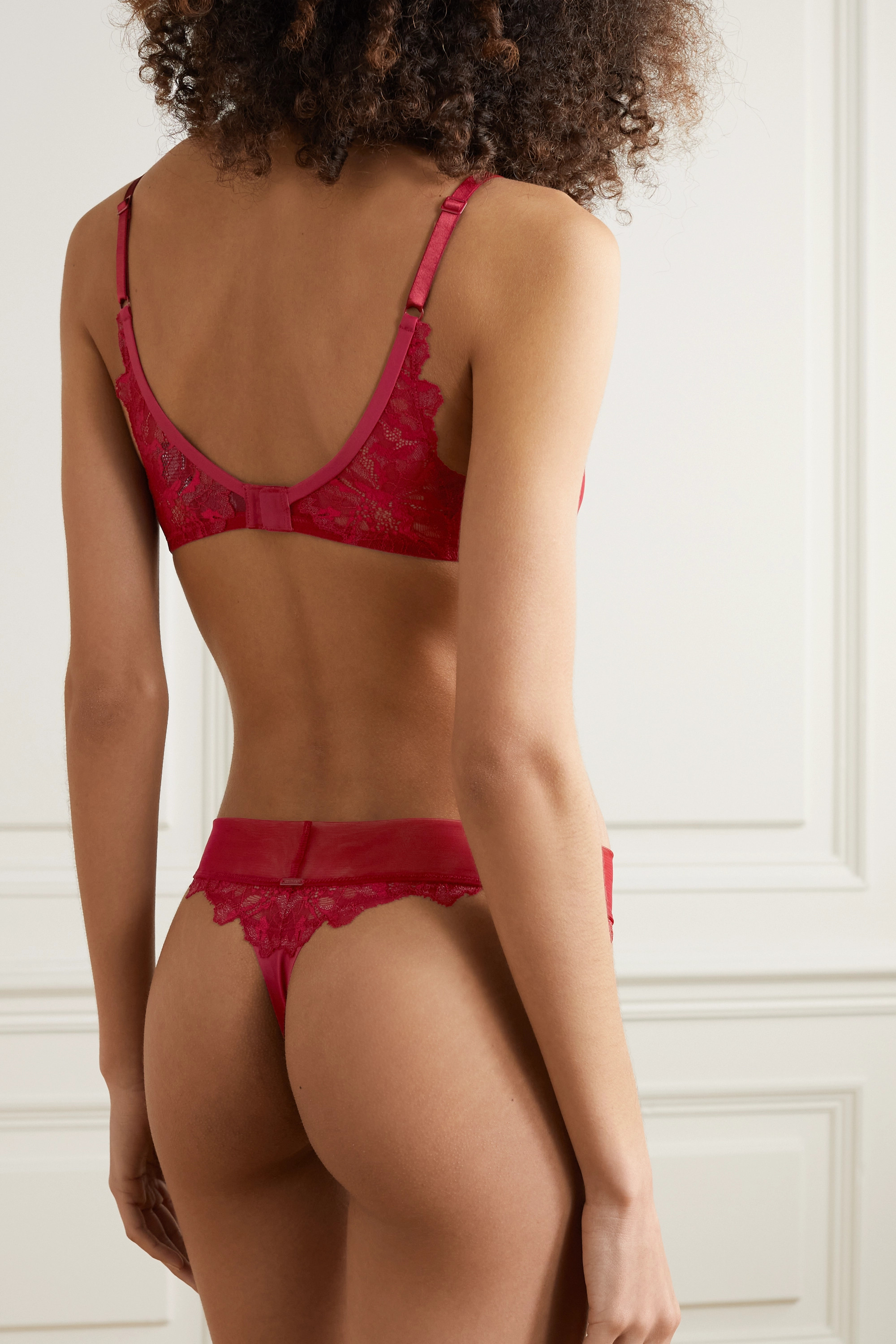 Calvin Klein Underwear Satin, tulle and lace thong