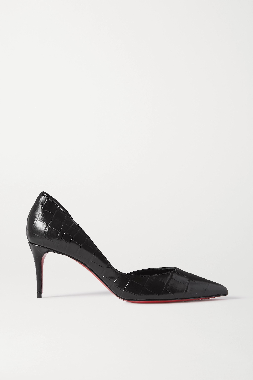 Black Iriza 70 croc-effect leather