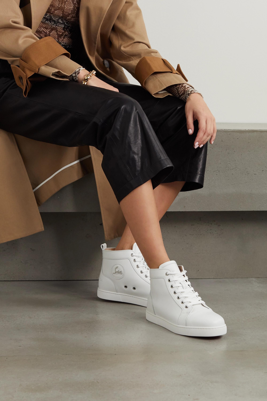 White Louis logo-embellished leather