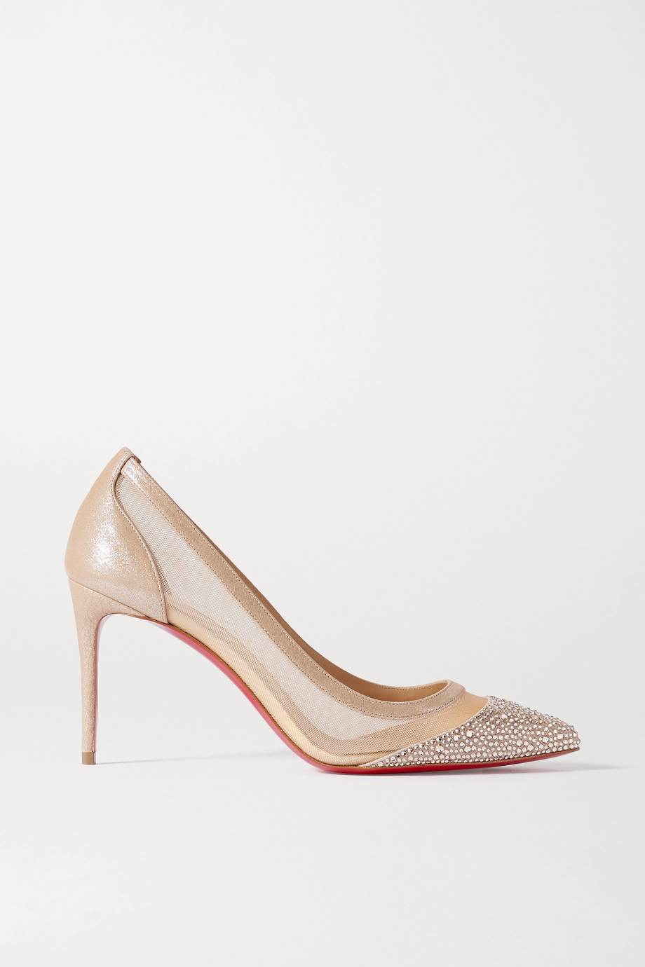 Christian Louboutin Galativi Strass 85 crystal-embellished leather-trimmed mesh pumps