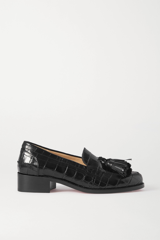Christian Louboutin Badmoc tasseled croc-effect leather loafers