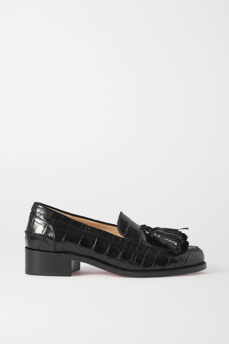 Christian Louboutin Badmoc tasseled croc-effect leather loafers