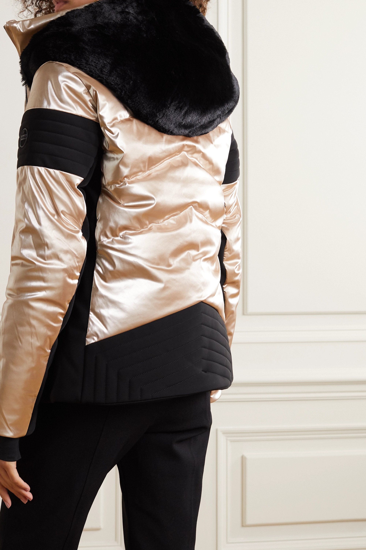 Fusalp Gardena hooded faux fur-trimmed paneled metallic ski jacket