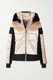 Fusalp Gardena hooded faux fur-trimmed paneled metallic ski jacket