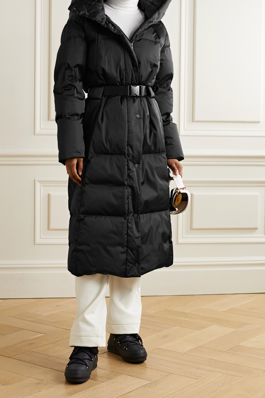 Fusalp Odette belted hooded quilted shell down coat