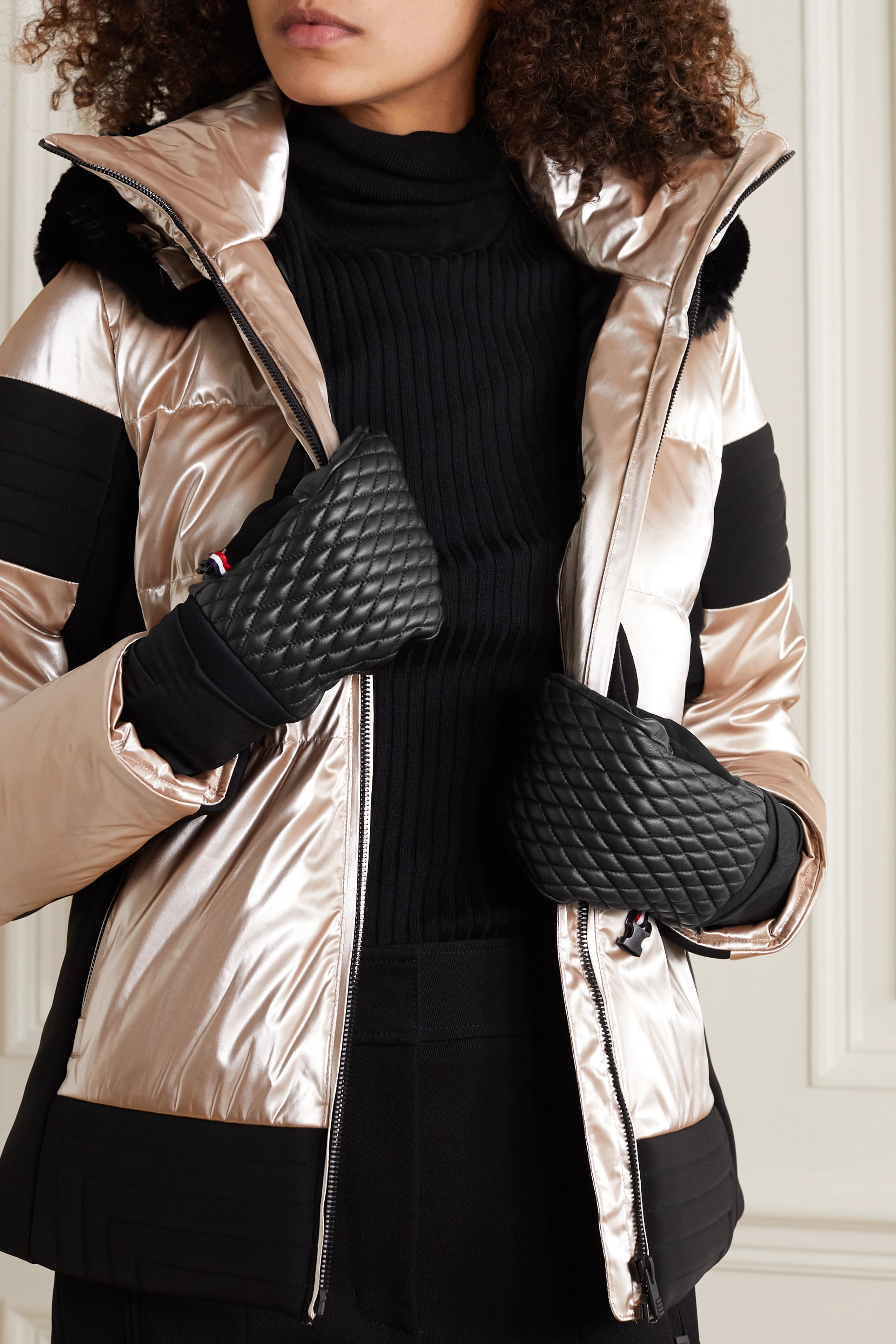 Fusalp Athena quilted leather and stretch-jersey mittens