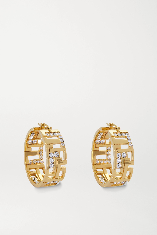 Leda Madera Goldie gold-plated crystal hoop earrings