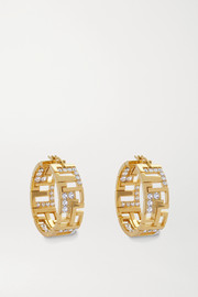 Leda Madera Goldie gold-plated crystal hoop earrings
