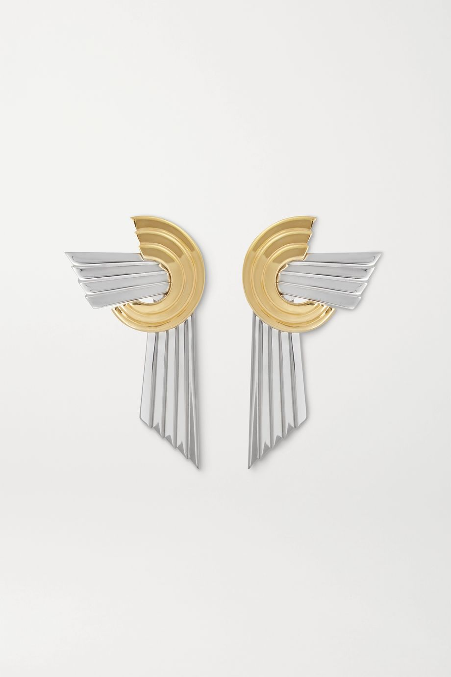 Leda Madera Meryl palladium-plated and gold-plated clip earrings