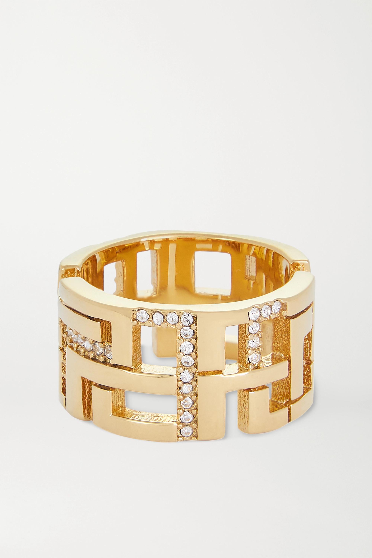 Leda Madera Goldie vergoldeter Ring mit Kristallen
