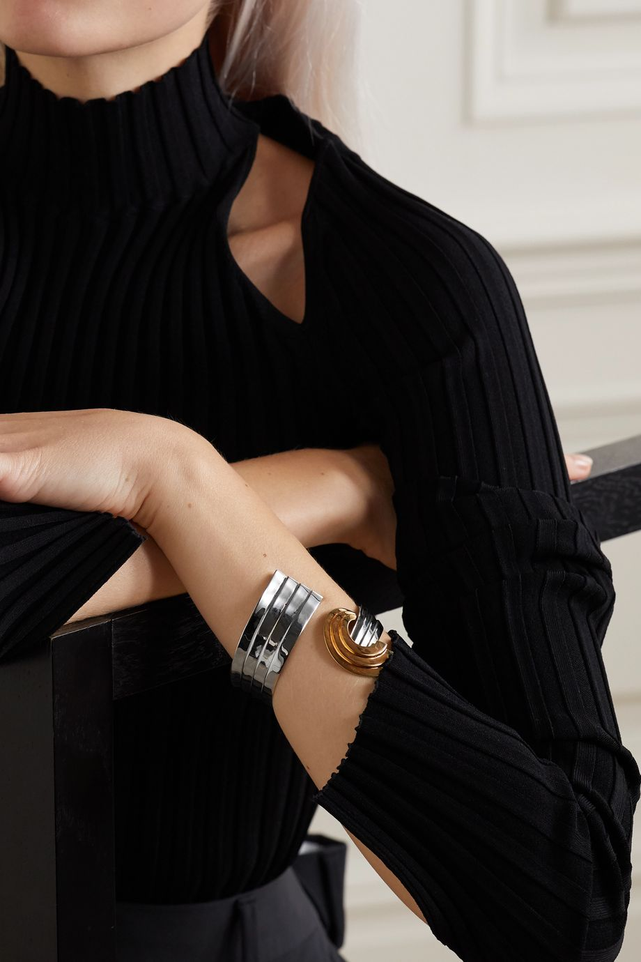 Leda Madera Meryl palladium-plated and gold-plated cuff