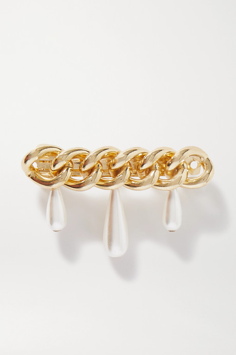 Gold Canasta faux pearl-embellished gold-tone hair clip  | Rosantica L430ST