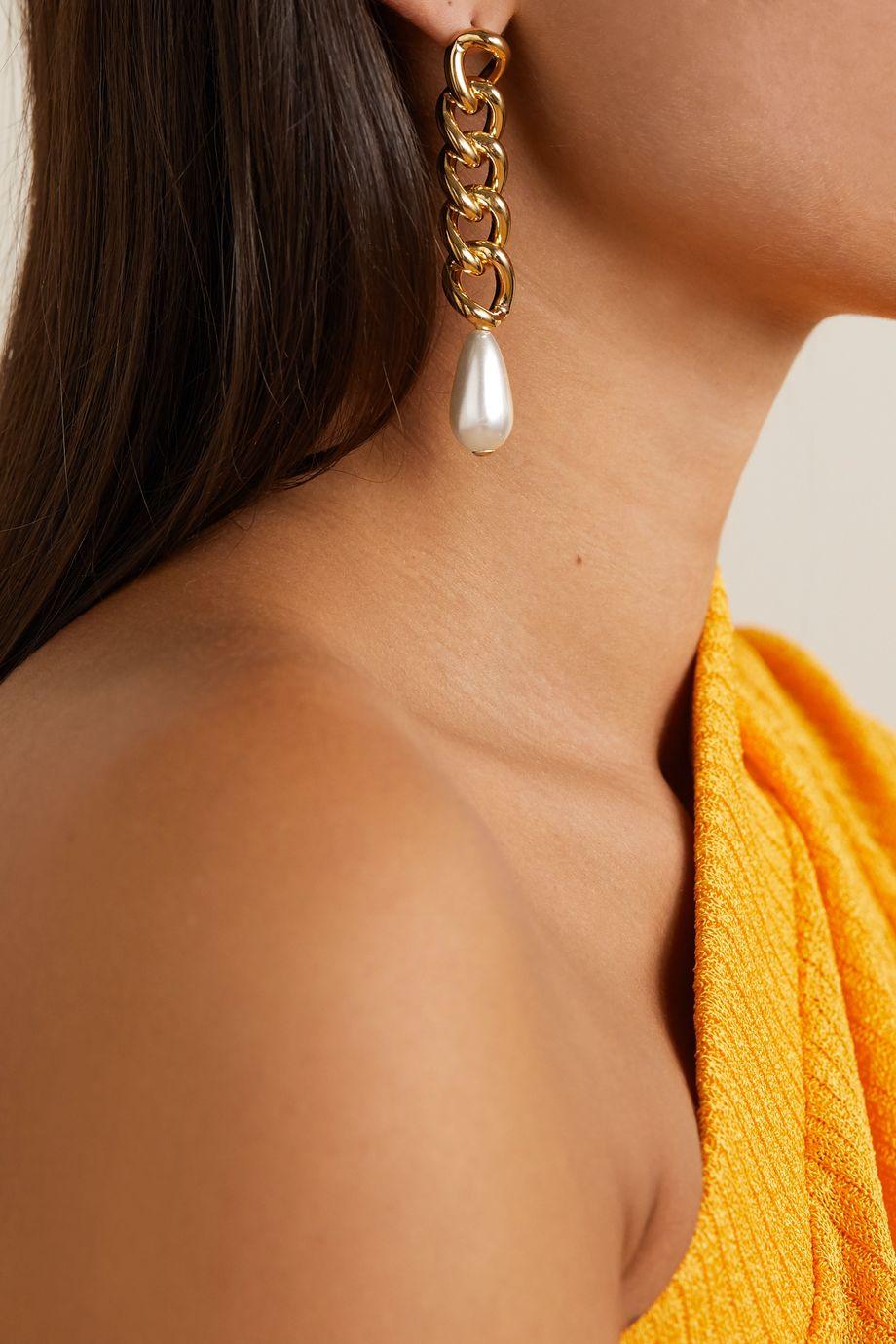 Rosantica Gold-tone faux pearl earrings