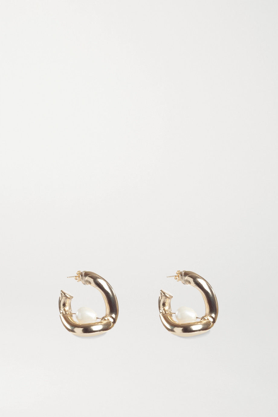Rosantica Gold-tone faux pearl hoop earrings