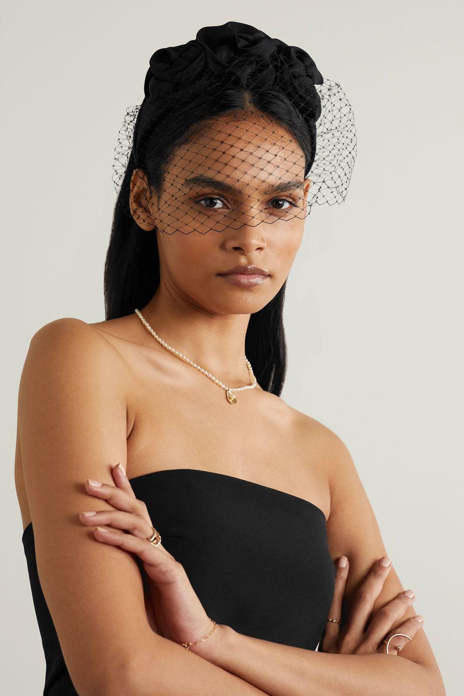 Jennifer Behr Triple Rosette Voilette mesh-trimmed silk-faille fascinator