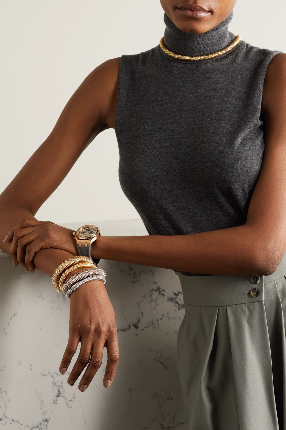 Carolina Bucci K.I.S.S. Large 18-karat yellow and white gold bracelet