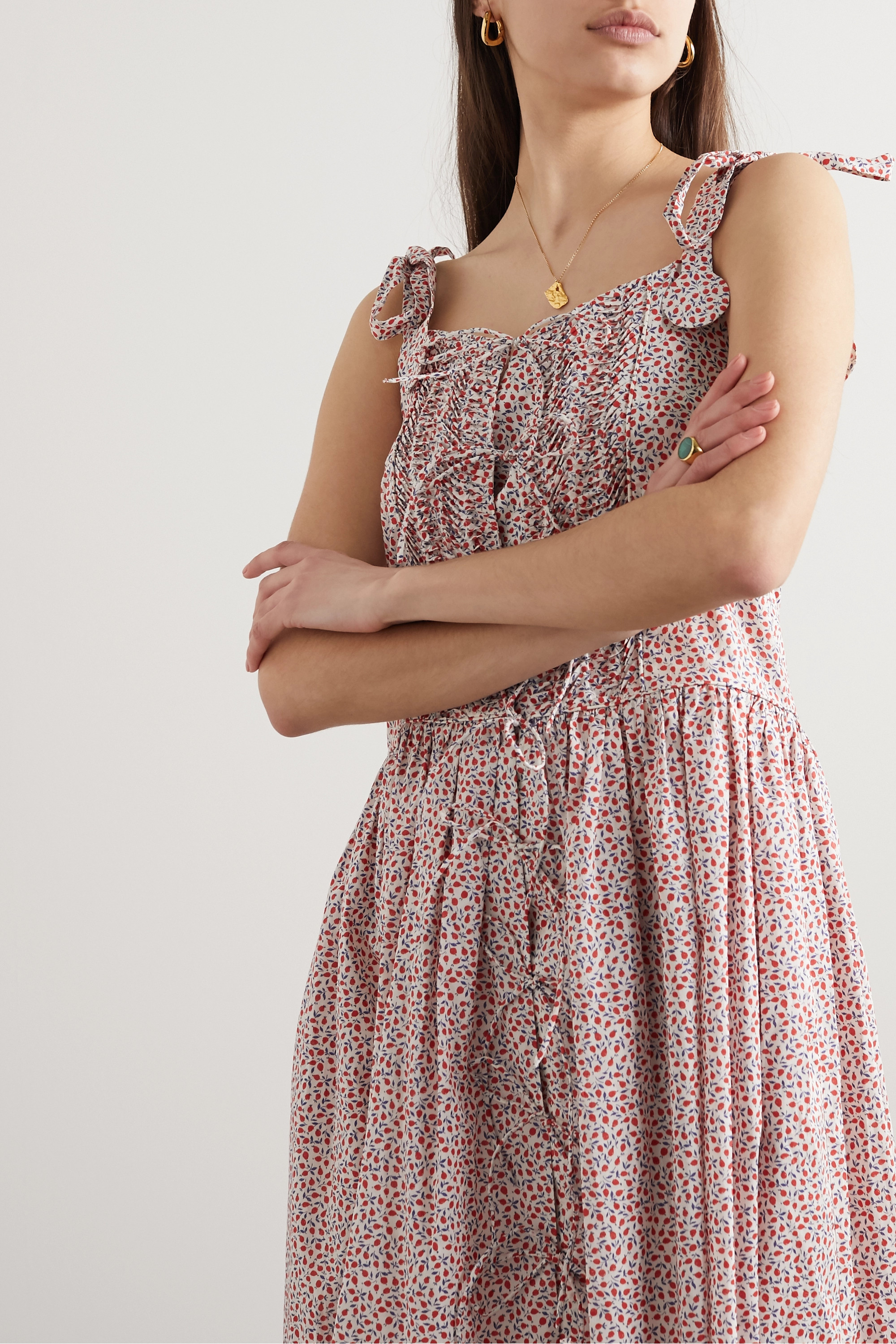 Horror Vacui Madeline tie-detailed pintucked  floral-print cotton midi dress