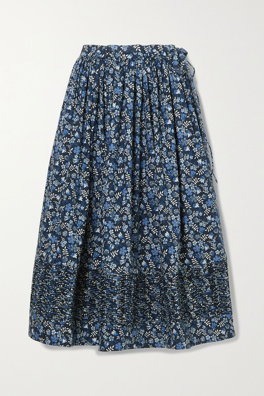 Horror Vacui Margot ruched floral-print cotton-poplin midi skirt