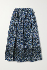 Horror Vacui Margot ruched floral-print cotton-poplin midi skirt