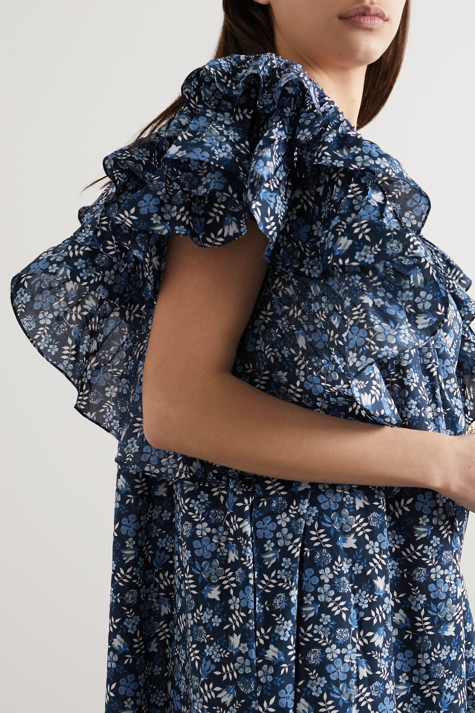 Horror Vacui Marcy ruffled floral-print cotton midi dress