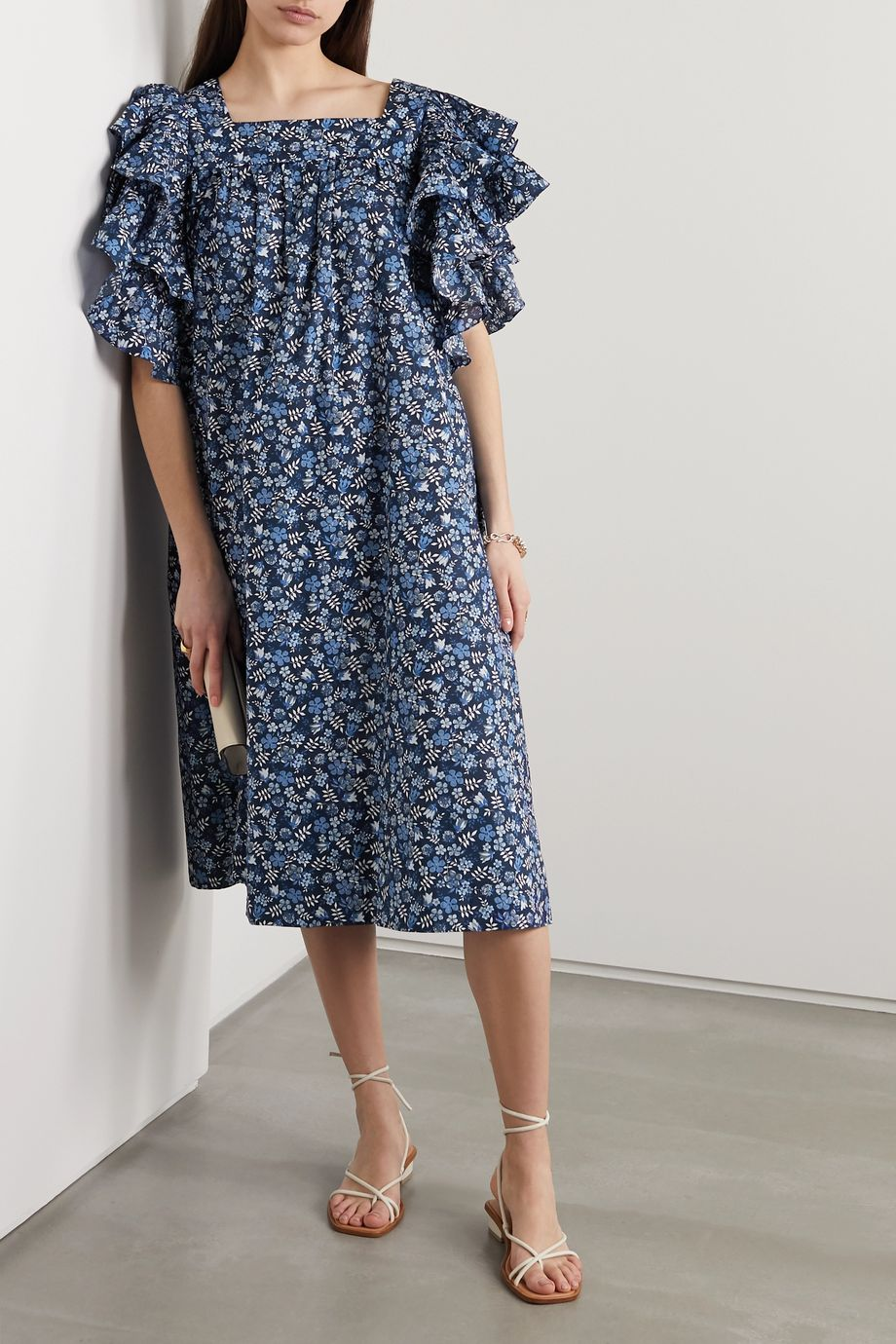 Horror Vacui Marcy ruffled floral-print cotton midi dress