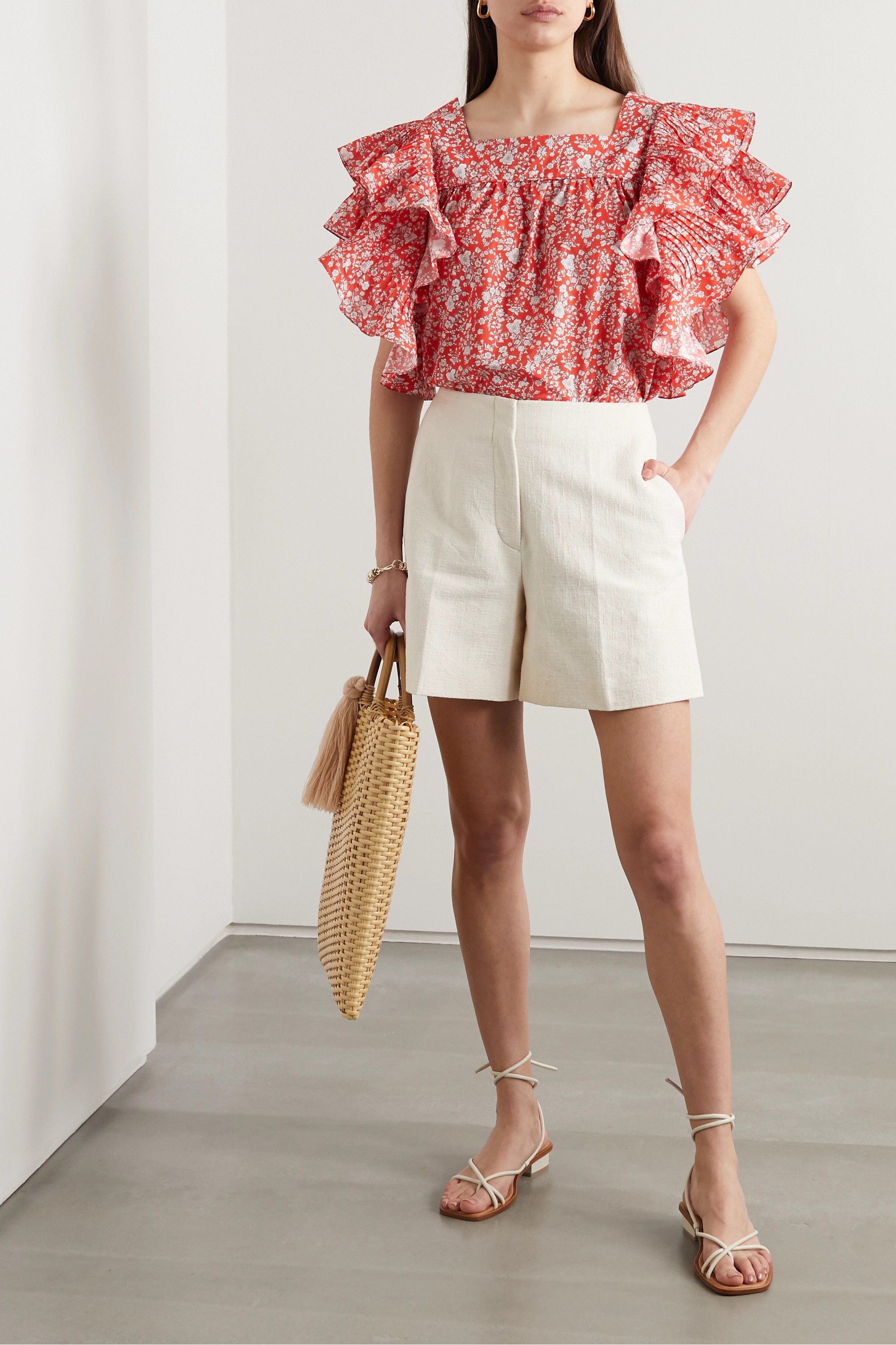 Horror Vacui Marcy ruffled floral-print cotton blouse
