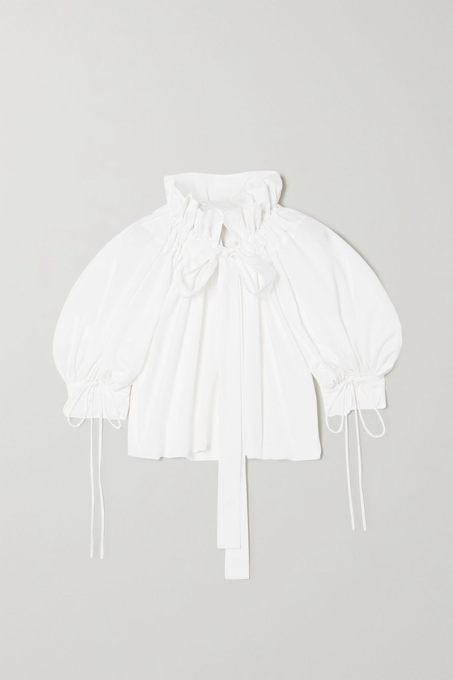 Horror Vacui Alice tie-detailed gathered cotton-poplin blouse
