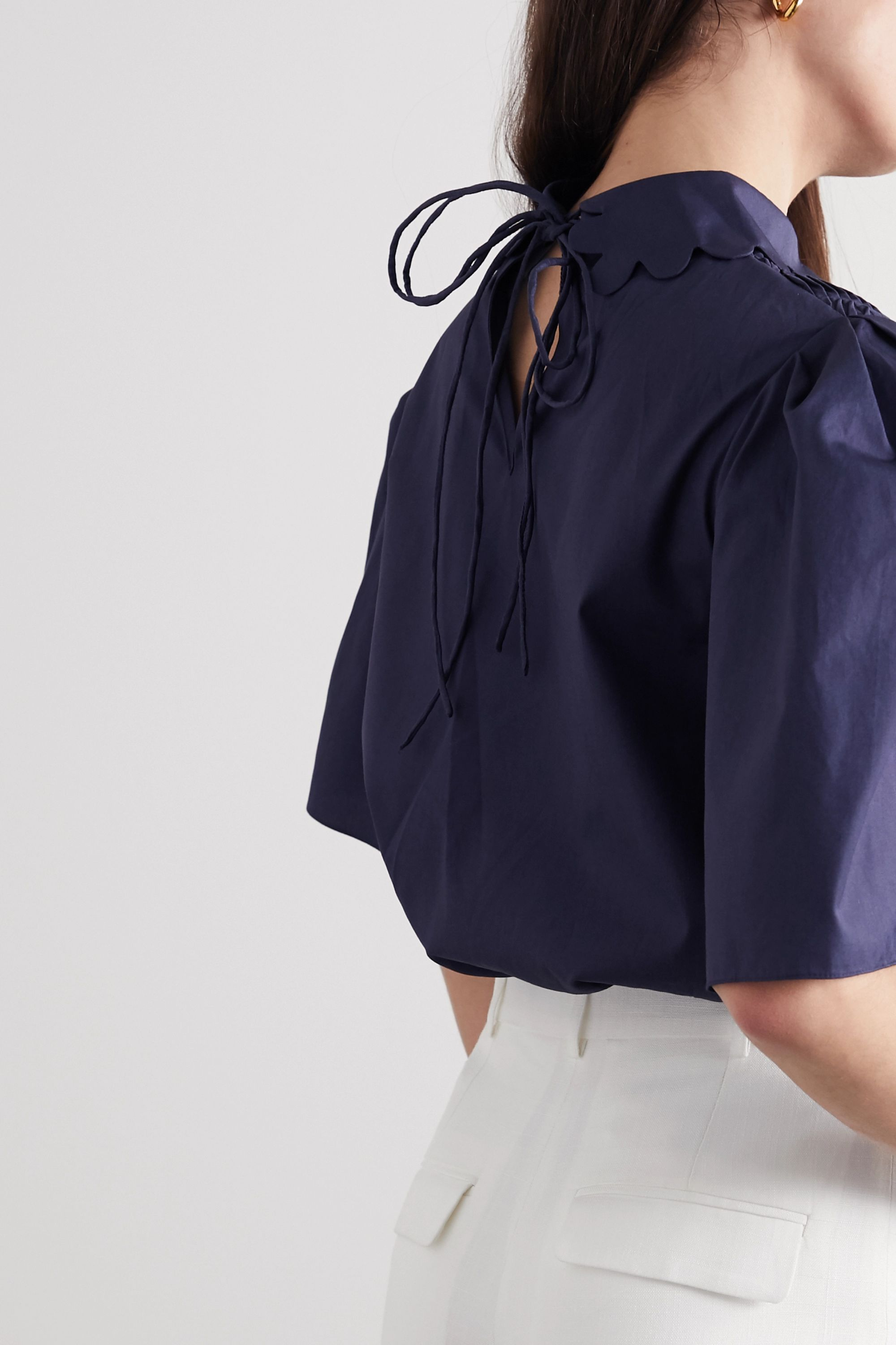 Horror Vacui Coco scalloped pintucked cotton-poplin blouse