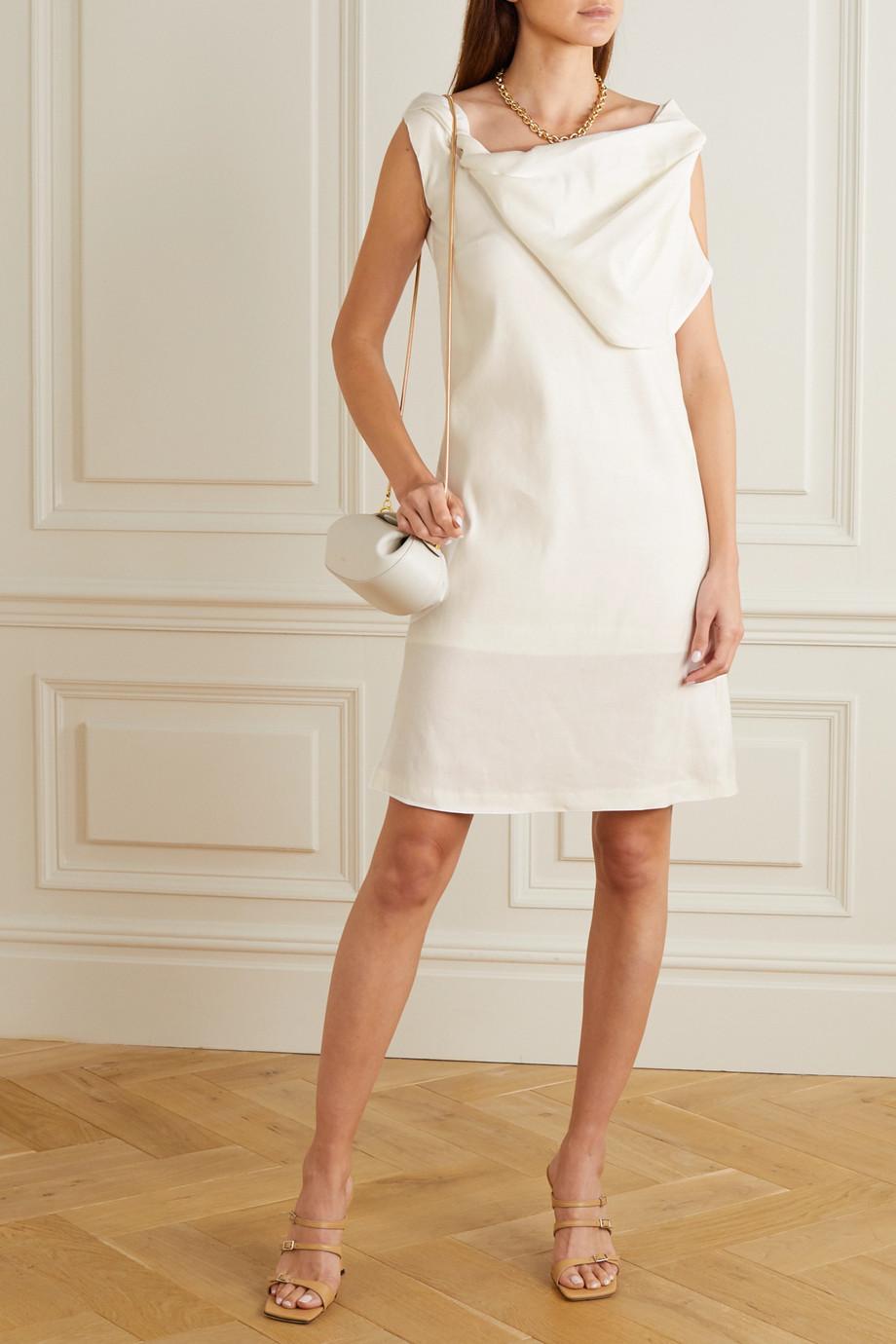 aaizél Draped linen-blend dress