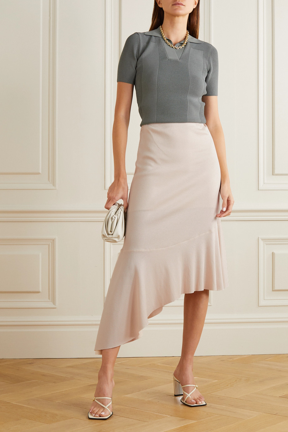 aaizél Asymmetric ribbed stretch cotton and modal-blend midi skirt