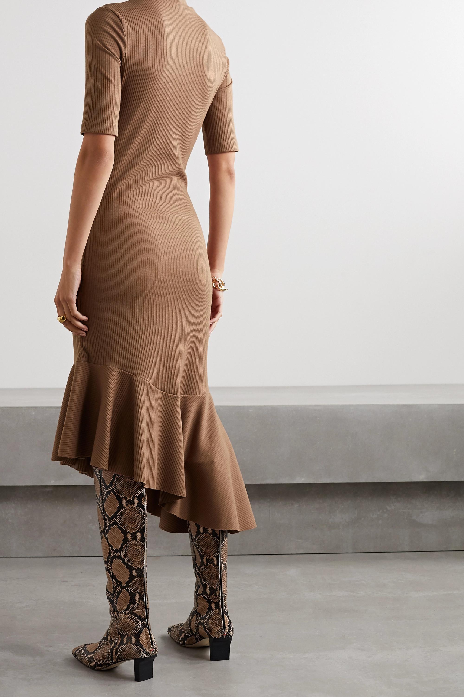 aaizél + NET SUSTAIN asymmetric ruffled ribbed-knit midi dress