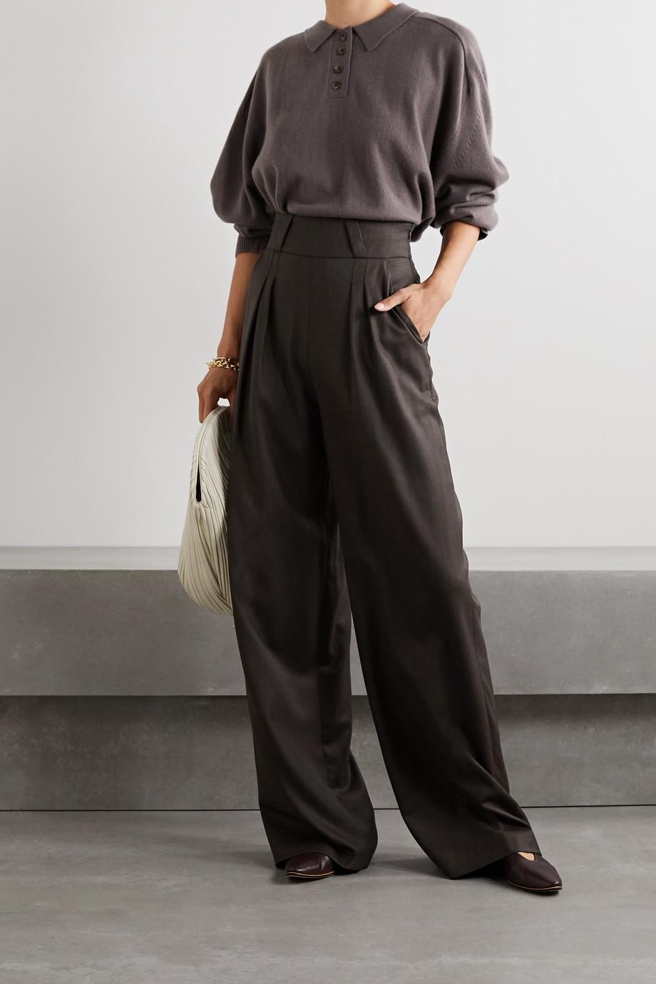 aaizél Pleated wool-blend twill wide-leg pants