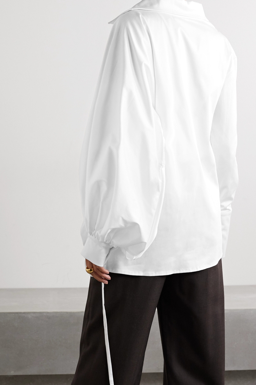 aaizél Ruched cotton-blend poplin shirt