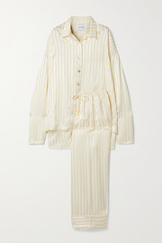 Sleeper Striped satin-jacquard pajama set