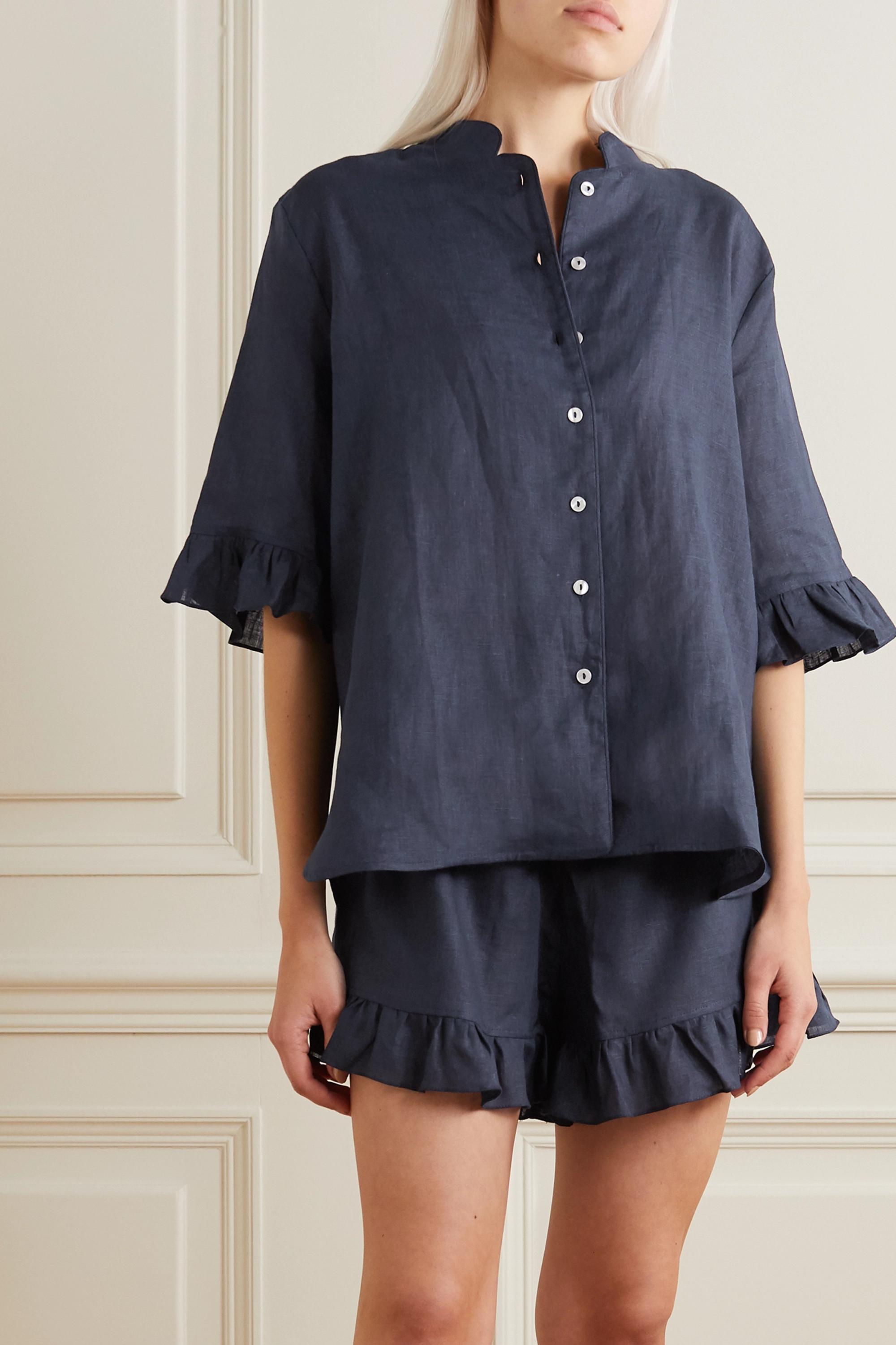 Sleeper Ruffled linen pajama set