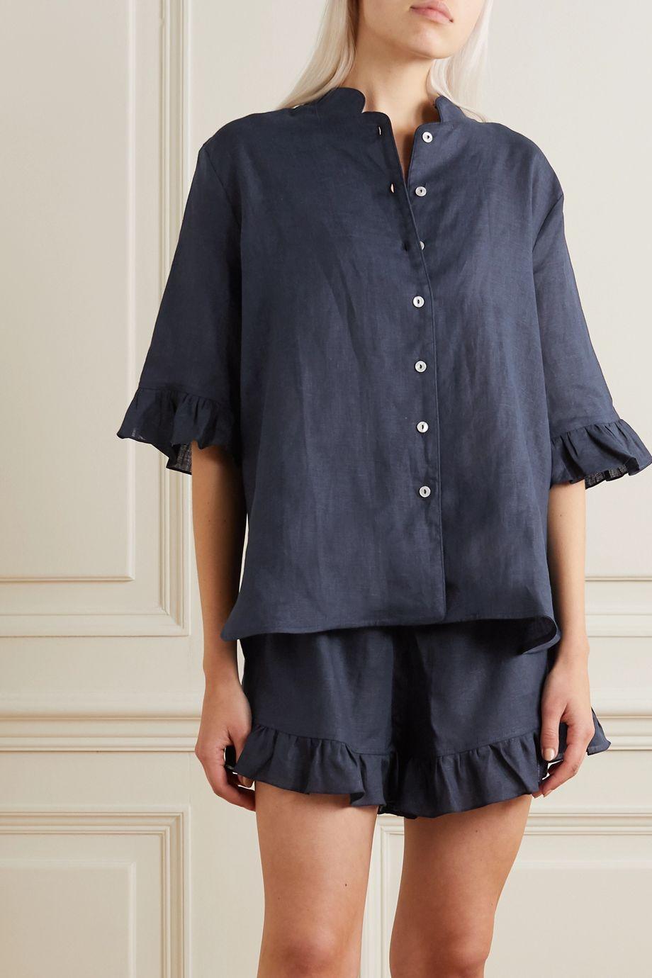 Sleeper Pyjama aus Leinen mit Rüschen