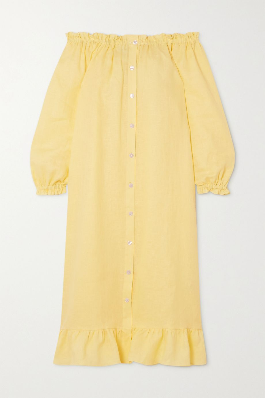 Sleeper Ruffled linen midi dress