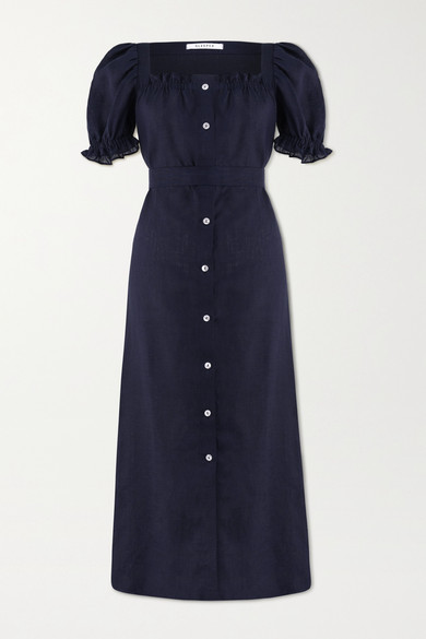 Sleeper - Brigitte Belted Linen Midi Dress - Midnight blue