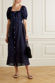 Sleeper Brigitte belted linen midi dress