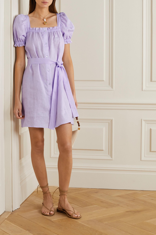 Sleeper Brigitte belted linen mini dress